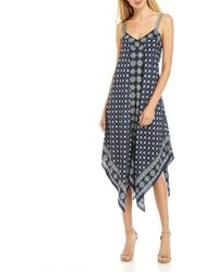 Michael Kors S Navy Printed Sleeveless V Neck Midi Party Dress - Blue
