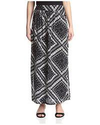 James & Erin - High Slit Printed Skirt - Lyst
