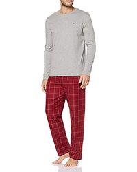 Tommy Hilfiger CN Ls Pant Flannel Set Bas De Pyjama (Lot de 2) - Multicolore