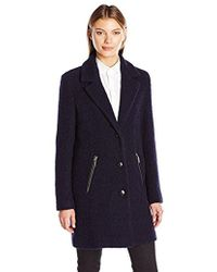 Calvin Klein - Boucle 3 Button Wool W/pu Trim Pocket - Lyst