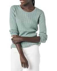 Amazon Essentials Lightweight Cable Crewneck Sweater Pull - Vert