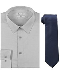 CALVIN KLEIN 205W39NYC - Slim Fit Herringbone Dress Shirt And Silver Spun Tie Combo - Lyst
