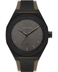 Superdry Reloj Analógico para Hombre de Cuarzo con Correa en Silicona SYG349B - Negro