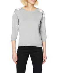 Dorothy Perkins Grey Marl Plain Crochet Shoulder Jumper Jumper