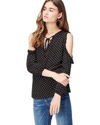 FIND Cold Shoulder Spot Camicia Donna - Nero