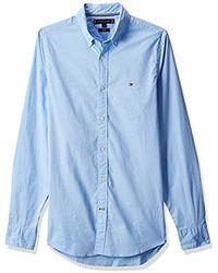 Tommy Hilfiger Core Stretch Slim Poplin Shirt, Chemise - Bleu