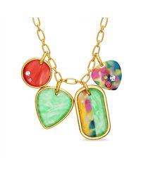 Steve Madden Yellow Gold Plated Rainbow Heart Oval Disc Link Charm Necklace for - Giallo