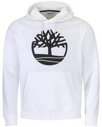 Timberland Core Logo P/O Hoodie Kapuzenpullover 0A1ZKY White S - Weiß