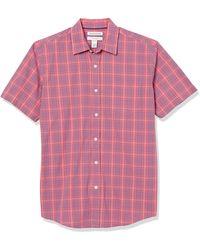 Amazon Essentials Short-Sleeve Regular-Fit Casual Poplin Shirt Button-Down-Shirts - Rosa