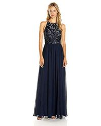 Vera Wang - Sequins And Chiffon Gown - Lyst