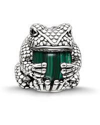Thomas Sabo Bead Frosch Karma Beads 925 Sterling Silber geschwärzt Zirkonia schwarz imitierter Malachit grün K0193-880-6