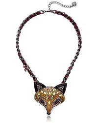 Betsey Johnson - Surreal Forest Multi-color Statement Fox Pendant Necklace - Lyst