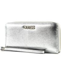 Guess Abby SLG Large Zip Around Silver - Métallisé