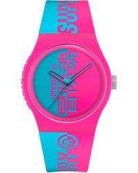 Superdry Reloj Analógico para Hombre de Cuarzo con Correa en Silicona SYG346AUP - Rosa