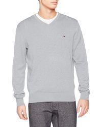 Tommy Hilfiger Cotton Silk V Neck suéter - Gris