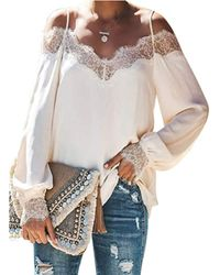 HIKARO White Casual Off The Shoulder Long Sleeved Blouse Shirts For Ladies Lace Crochet V Neck Summer Tunic Tops Uk Size 22