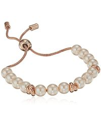 Kenneth Cole - S Rose Gold Pearl And Knot Bracelet, Blush, One Size - Lyst