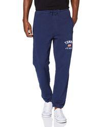 Tommy Hilfiger TJM Washed Logo Sweatpant Regular Hose - Blau