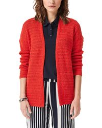 S.oliver RED Label Strickjacke mit Strukturmuster Brick red 40 - Rot