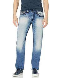 True Religion Ricky - Jeans Dritti da Uomo con Patta - Blu