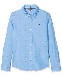 Dobby Chemise Bleu Garçon Ls Shirt 8wOXkn0P