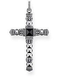 Thomas Sabo Pendentif Croix Ethnique Moyenne Noir Argent Sterling 925, Noirci PE775-698-11 - Multicolore