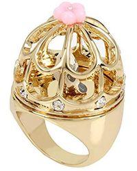 Betsey Johnson - S Rose Gold Multi Bird Cage Ring - Lyst