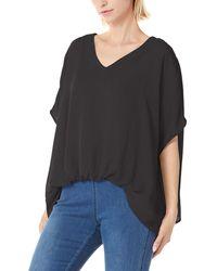 HIKARO S Plain Print Casual V Neck Soft Tops Summer Loose Tshirts Dolman Sleeve Chiffon Blouses Black