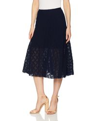 Only Hearts Stretch Lace Midi Skirt Lined - Blue
