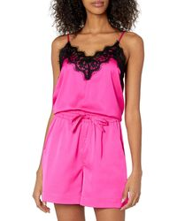 The Drop Natalie V-neck Lace Trimmed Camisole Tank Top - Pink