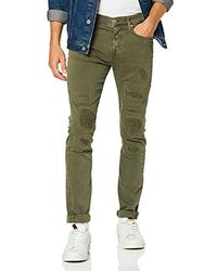 True Religion - Herren Rocco Overdyed Patch Olive Skinny Jeans - Lyst