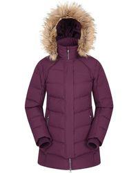 Mountain Warehouse Isla Ii Womens Down Jacket - Fur Hoodie, Two Zipped Pockets, Waterproof Winter Coat -thermal Tested -50 - Purple