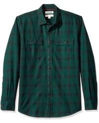 Goodthreads Standard-Fit Long-Sleeve Plaid Herringbone Shirt Chemise boutonnée - Vert