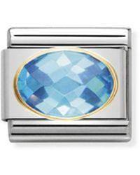 Nomination Maillon pour bracelet composable Mixte - Acier inoxydable et Or jaune 18 - Bleu