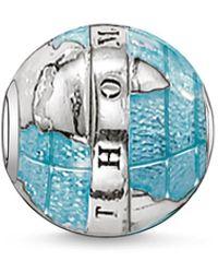 Thomas Sabo Bead Welt Karma Beads 925 Sterling Silber geschwärzt blau K0036-007-1