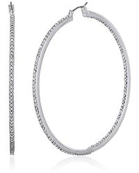 """Kenneth Cole - """"shiny Silver Items"""" Silver And Crystal Large Hoop Earrings - Lyst"""