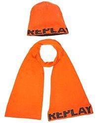 Replay Am8007.000.a7059, écharpe et bonnet Homme - Orange