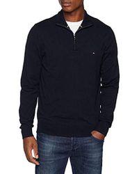 Tommy Hilfiger Classic Cotton Zip Mock suéter para Hombre - Azul