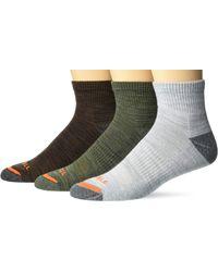 Merrell Mens Cushioned Hiker Quarter 3 Pair Casual Sock - Gray
