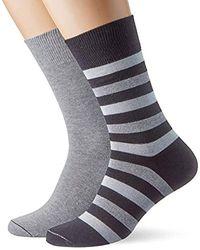 Esprit Regular Stripe Calf Socks, (pack Of 2) - Black