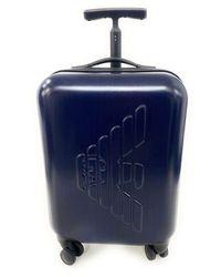 Emporio Armani Trolley avec logo embossé et fermeture TSA.Trolley avec compartiments intérieurs.36 x 56 x 21 cm Bleu bleu 36 x 56 x 21 cm.