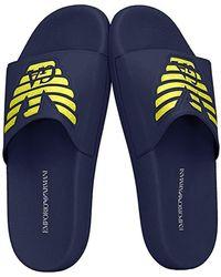 Emporio Armani Chaussons hommes plastic shoes beachwear article X4PS01 XL828 SLIPPER - Bleu