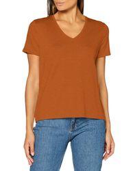Scotch & Soda V-neck Short Sleeve Tee With Striped Rib Detail T-shirt - Orange