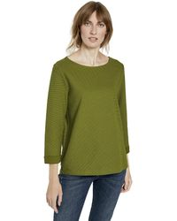 Tom Tailor T-Shirts/Tops Strukturiertes Shirt mit 3/4-Arm Wood Green,XXL,19651,7000 - Grün
