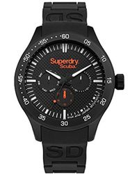 Superdry - 'scuba' Quartz Metal And Silicone Casual Watch, Color Black (model: Syg210bb) - Lyst