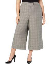Anne Klein Plus Size Cuffed Culotte Pants - Gray