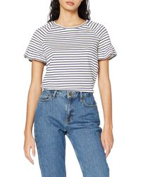 Scotch & Soda Striped Tee with Smocked Short Sleeves T-Shirt - Blu