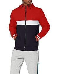 Tommy Hilfiger Colorblocked Hooded Zip Through Sweat-Shirt - Rouge