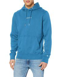 Calvin Klein Instit Chest Logo Reg Hoodie Felpa - Blu