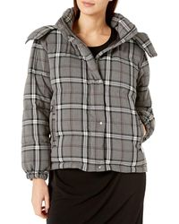 Vince Camuto Plaid Cropped Puffer Coat - Gray